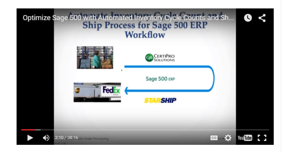 StarShip and CertiPro Solutions will present an advanced inventory cycle count and automated shipping solution for Sage 500.